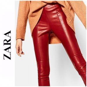 Zara Faux Leather Pants, Red